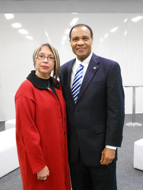 President Walter McNeil and Ms. Regina Miki, the Brazilian National Secretary for Public Safety, pause for a photo during the opening of the IACP South American Executive Policing Seminar in São Paulo, Brazil.