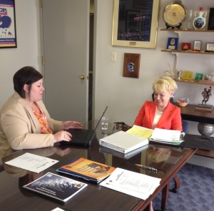 Meredith Ward interviews Laurie Robinson at IACP headquarters in Alexandria, Virginia.