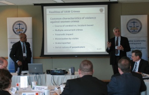 IACP Institute faculty Dave Thomas (left) and Randy Carroll (right) discuss the realities of Violence Against Women crimes with Illinois law enforcement leaders in Oak Brook.