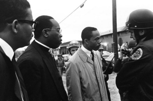 Nashville leaders the Rev. W.M. King, left, the Rev. Robert A. Bennett and Ernest Terrell consult with Police Maj. Joe Casey, April 7, 1968.