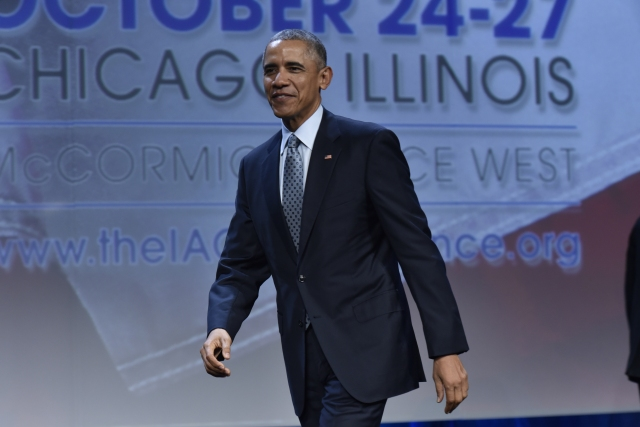 U.S. President Barack Obama addresses law enforcement leaders at the 2015 Annual IACP Conference and Expositions.